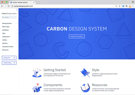 Screenshot of design system with information on getting started, what's new, guidelines, style, components, utilities, add ones, component states, resources, and more.