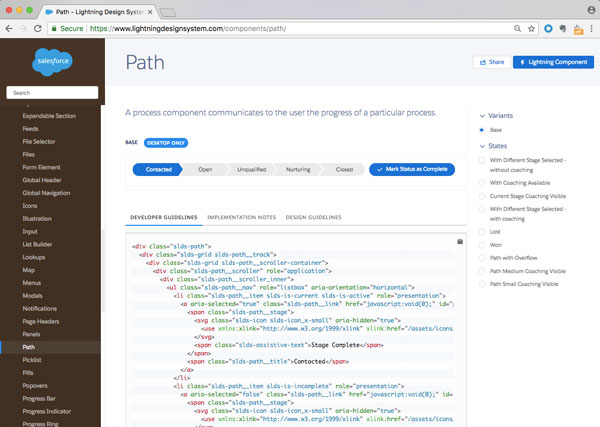 Screenshot of Salesforce's design system, showing what the path look likes, along with associated code.
