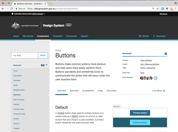 Screenshot of Australian Government design system button usage, and defined style for primary button and alternative version.
