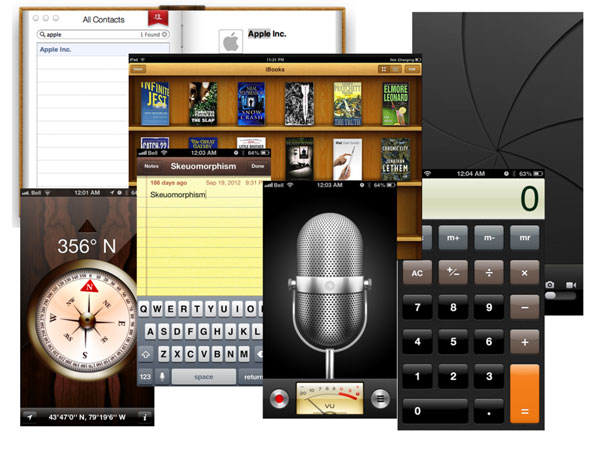 Screenshots of early versions of iPhone apps that resemble the physical version of what they represent. This includes notebook paper, a microphone that looks like it belongs in a photo studio, and a camera app with a shutter like a real camera. From IXD.p
