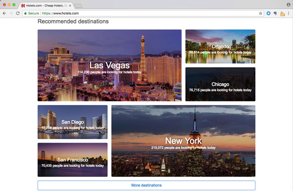 Screenshot of hotels.com