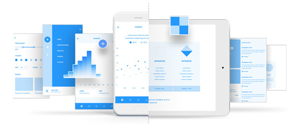 Sample designs from the UI kit wires.