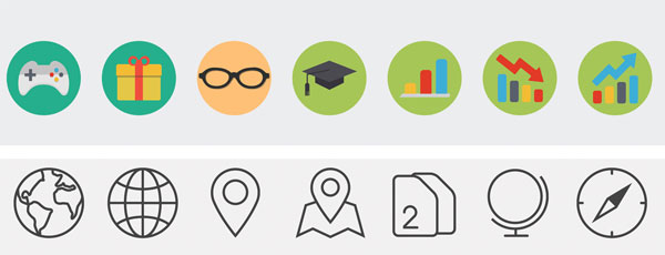 Icons that reflect the flat design style without shadows or depth.
