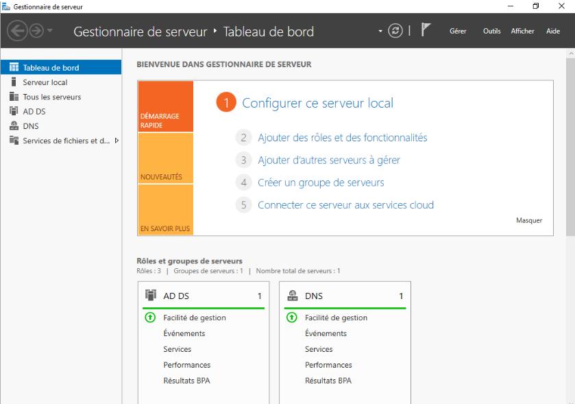 outils de gestion de Serveurs Windows 2016