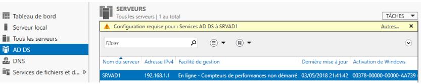 Service AD DS installé nécessitant une promotion
