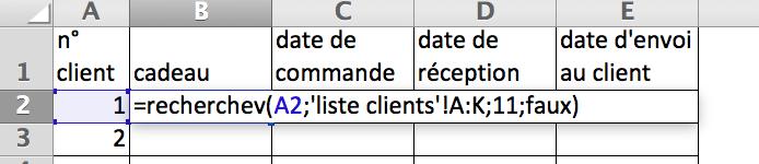 En cellule B2 : =recherchev(A2;'liste clients'!A:K;11;faux)