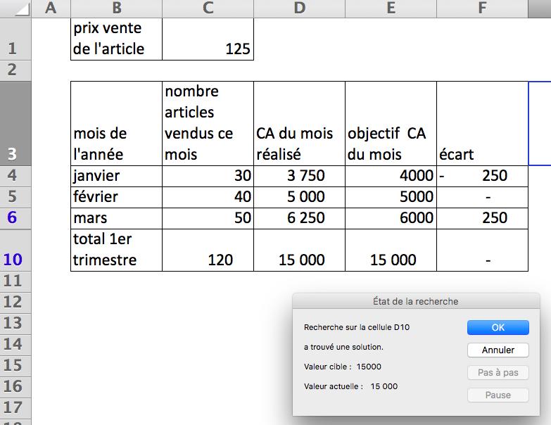 Excel a calculé la solution !