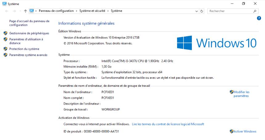 Propriété système d'un poste client sous Windows 10