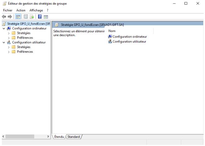 Fenêtre de paramétrage de l'objet GPO