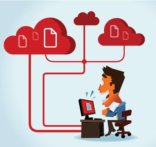 Un homme fou de joie devant son ordinateur en voyant s'afficher un fichier. On voit que l'ordinateur est connecté à des nuages informatiques contenant plein de fichiers.