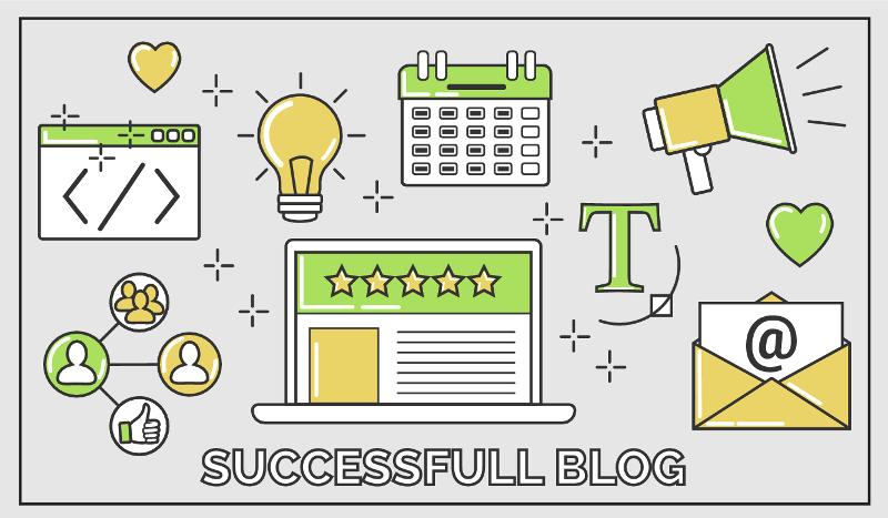 Patchwork d'icônes sur le thème d'un blog à succès