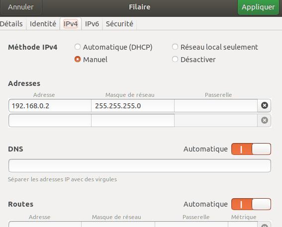 Onglet IPv4 de configuration de la 2e carte réseau