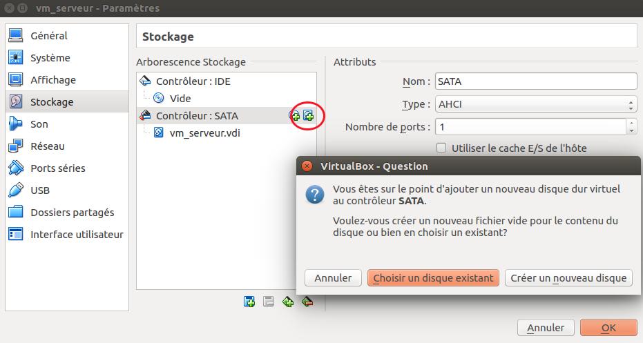 Fenêtre de propriétés de la machine vm-serveur dans VirtualBox, section stockage. Le bouton