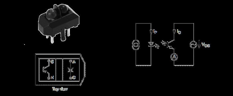 Photo du boîtier de TCRT 5000 et schéma de principe de fonctionnement électrique. Source : www.vishay.com