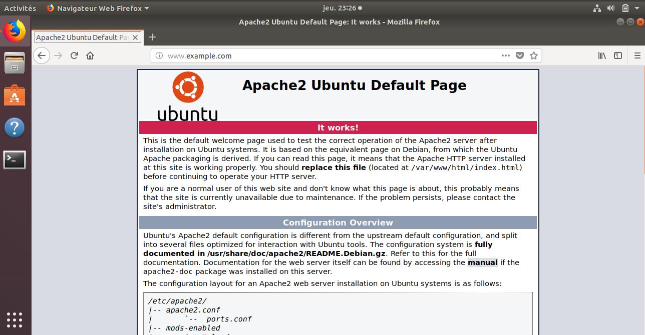 Capture d'écran d'un navigateur sur le client affichant la page d'accueil d'Apache à l'adresse http://www.example.com