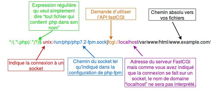 Les paramètres passés à la directive ProxyPassMatch apparaissent en différentes couleurs et des encadrés expliquent ces différentes parties.