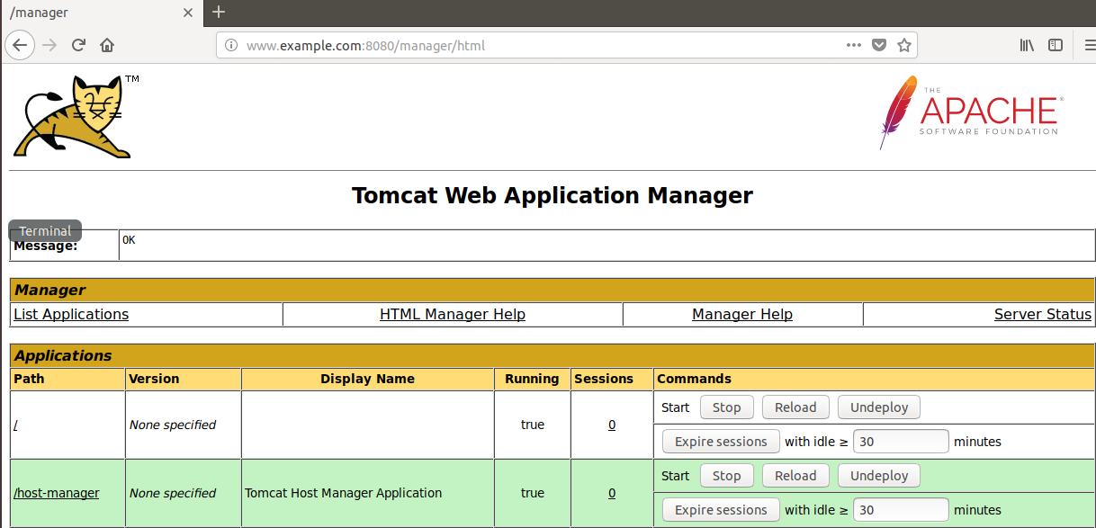 Capture d'écran du navigateur d'un client connecté à l'application Manager de Tomcat