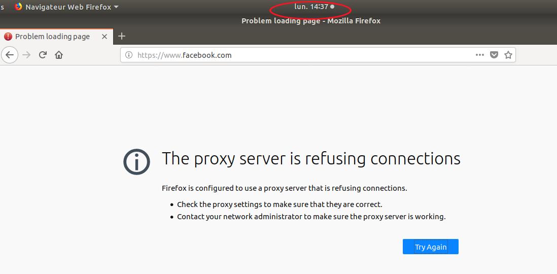 Capture d'écran montrant une connexion à Facebook refusée à 14h37.