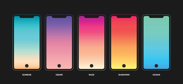Different colors that flow into each other. Different colors for each screen.