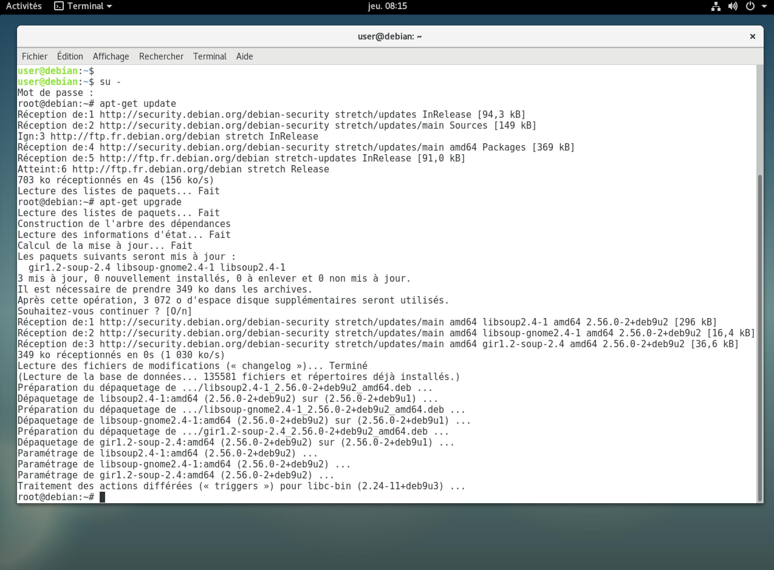 Procédure de mise à jour de Debian 9