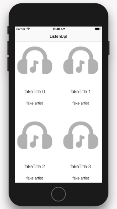 Collection view using sample data