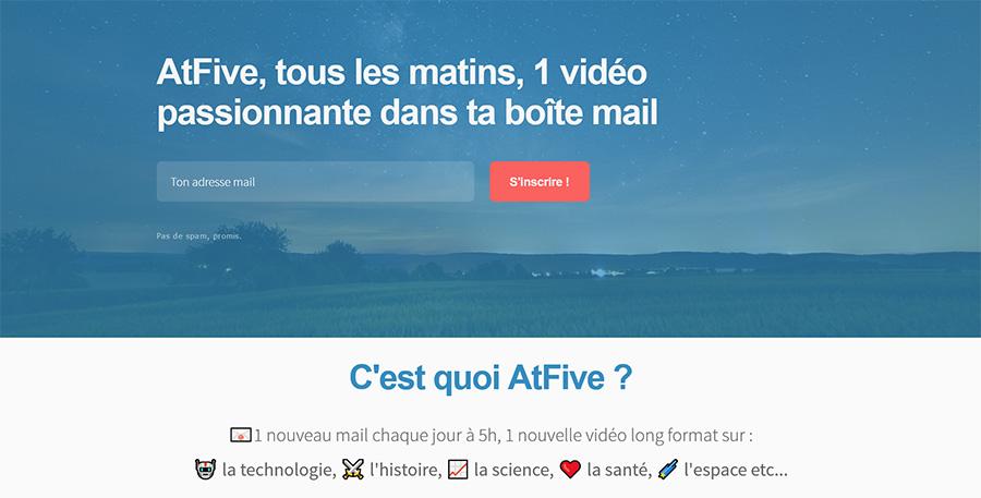 AtFive screenshot newsletter