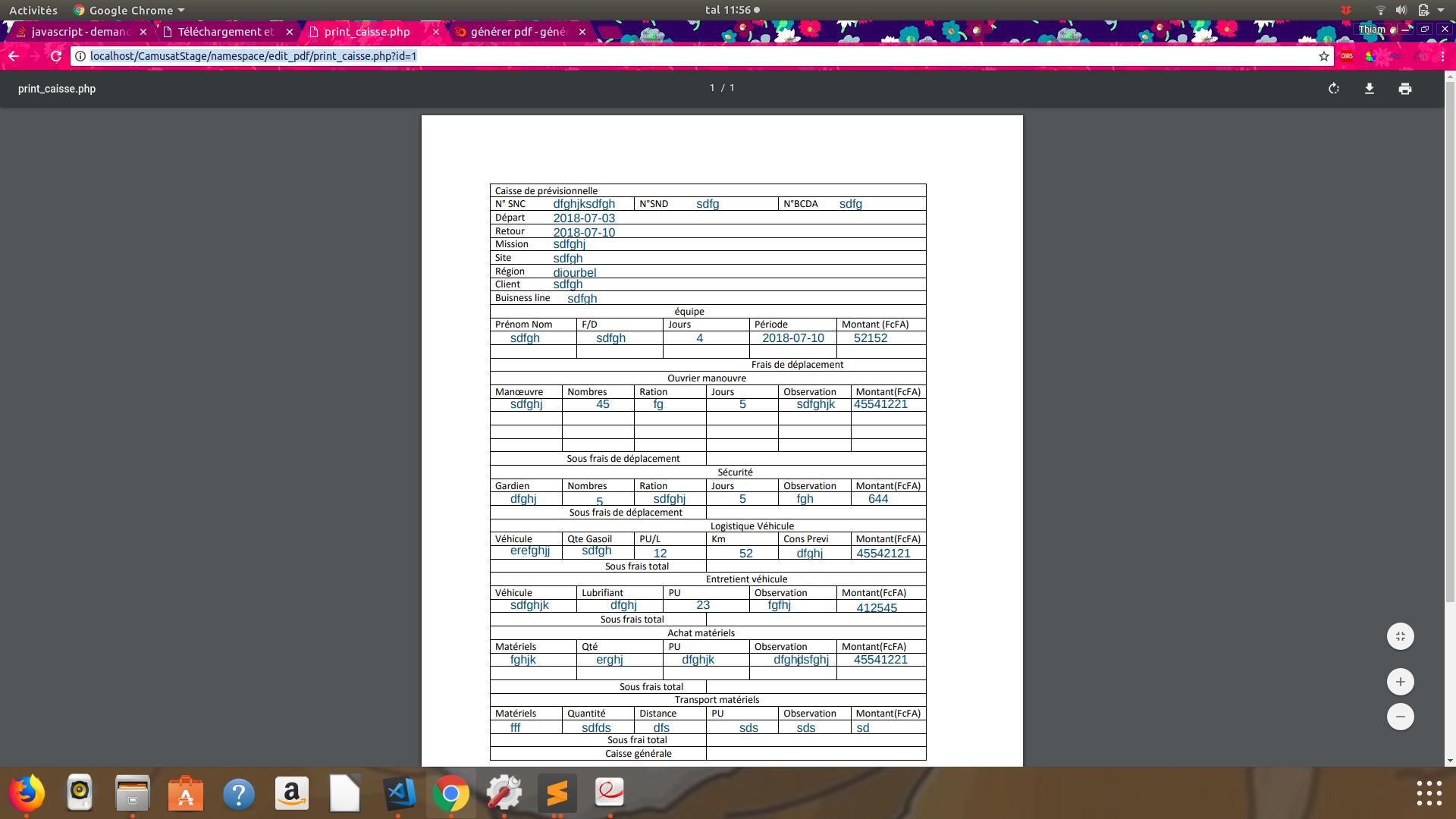 générer pdf - générer pdf avec plusieurs tables par