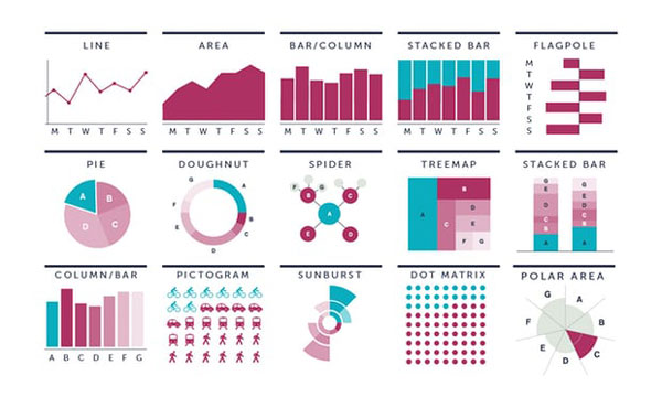 Different types of graphs and data visualizations.