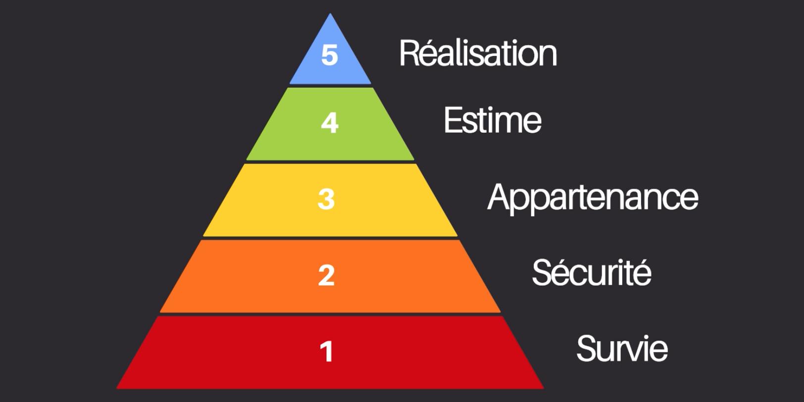 Les 5 besoins universels selon Maslow : 1-survie, 2-sécurité, 3-appartenance, 4-estime, 5-réalisation