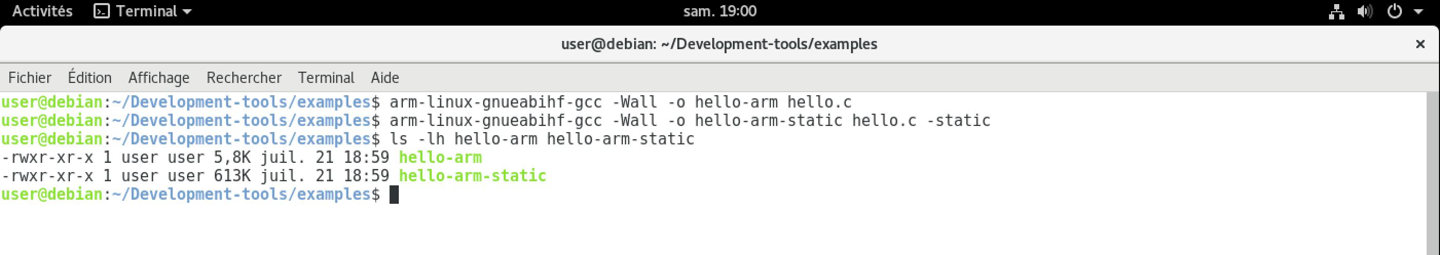 Comparaison de la taille de hello-arm et hello-arm-static