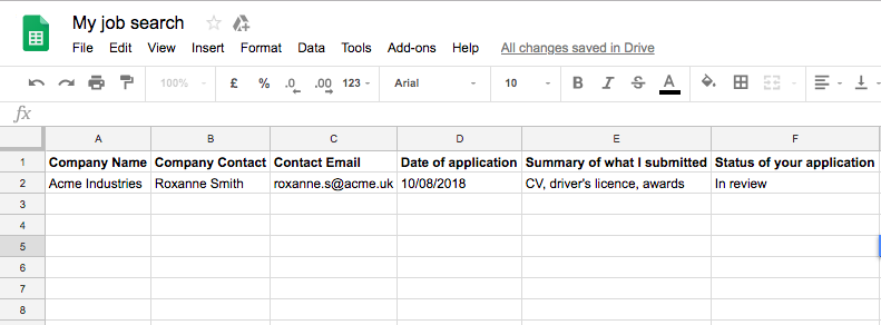 Example of how to use a spreadsheet to organise your job search