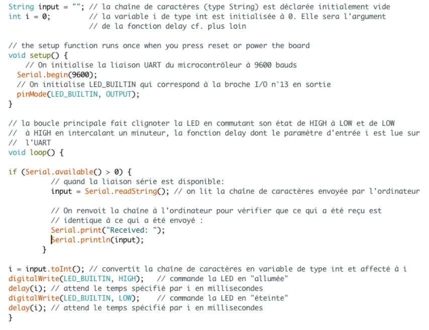 Code du programme de clignotement de la Led BuiltIn dont la fréquence est pilotée par la liaison série