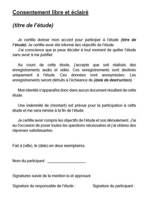 Exemple de formulaire de consentement libre et éclairé