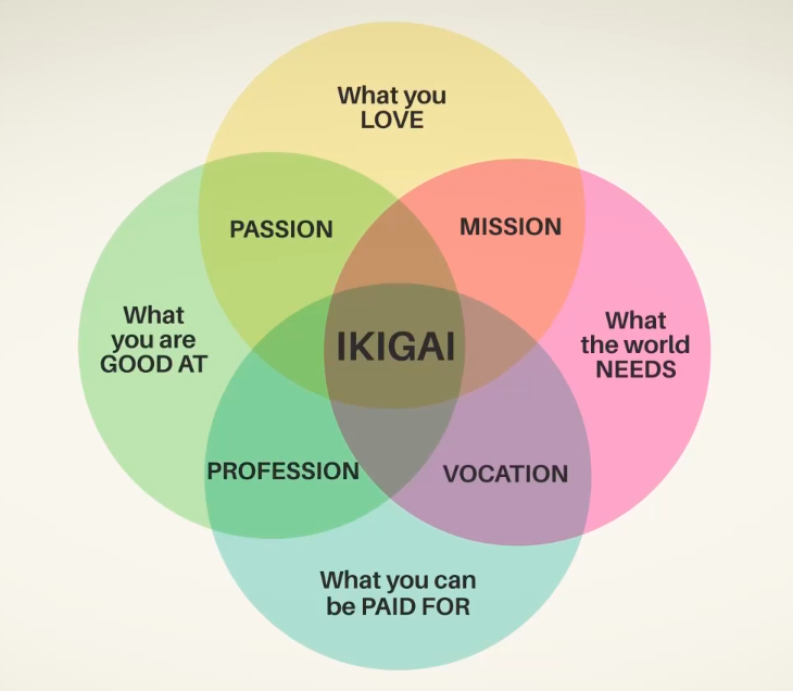 Place your opportunities in your Ikigai diagramme.