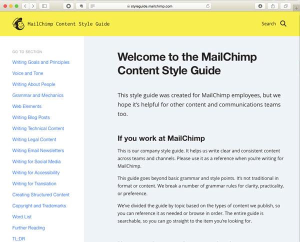 Screenshot of MailChimp content style guide.