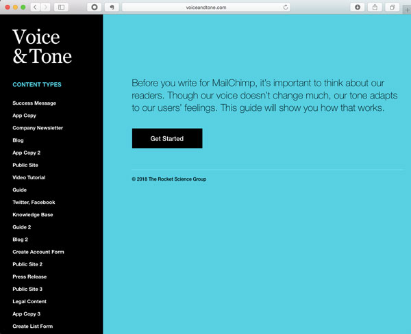 Screenshot of MailChimp's Voice and Tone guide.