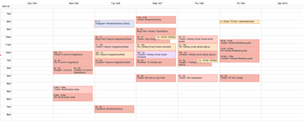 GoogleCal screenshot of MailChimp editorial calendar.