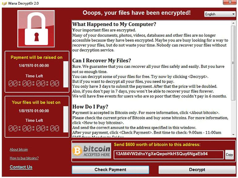 Aperçu de WannaCry : l'utilisateur doit payer une rançon pour accéder à l'ordinateur