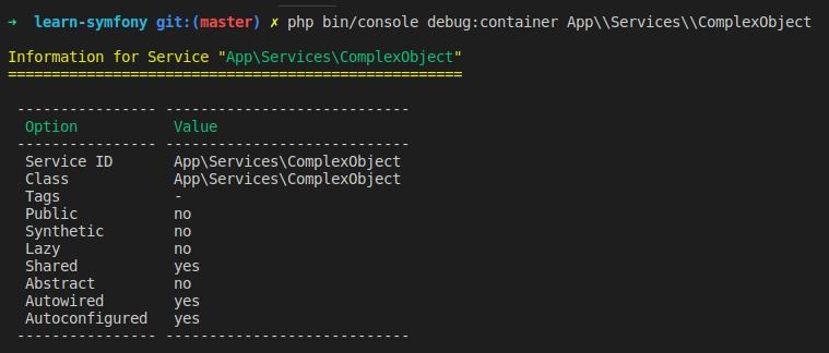 Cette capture d'écran présente le retour console de la commande debug:container pour le service nouvellement créé.
