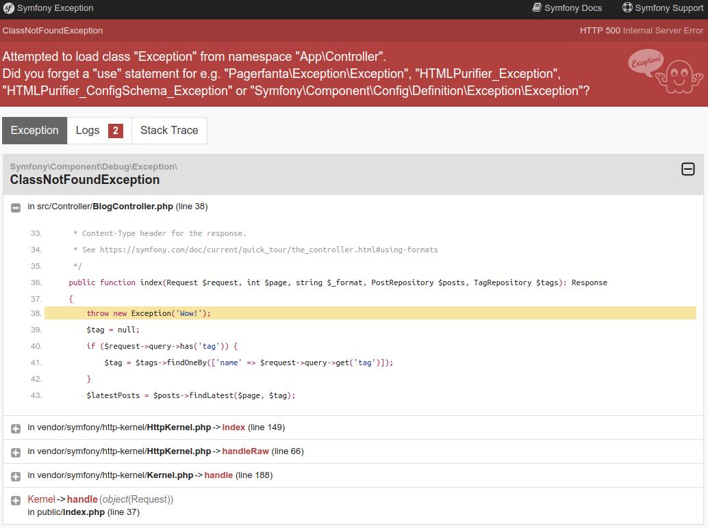 Capture d'écran du gestionnaire d'erreur de Symfony
