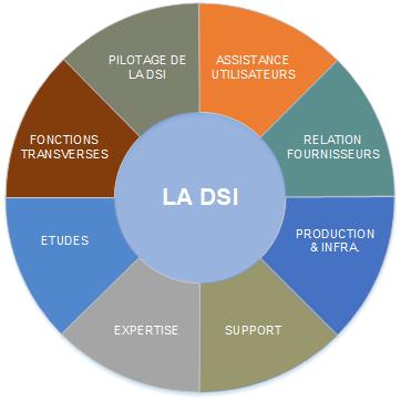 Les différentes fonctions de la DSI  : assistance utilisateurs, pilotage de la dsi, relations fournisseurs, production et infra, support, expertise, études, fonctions transverses.