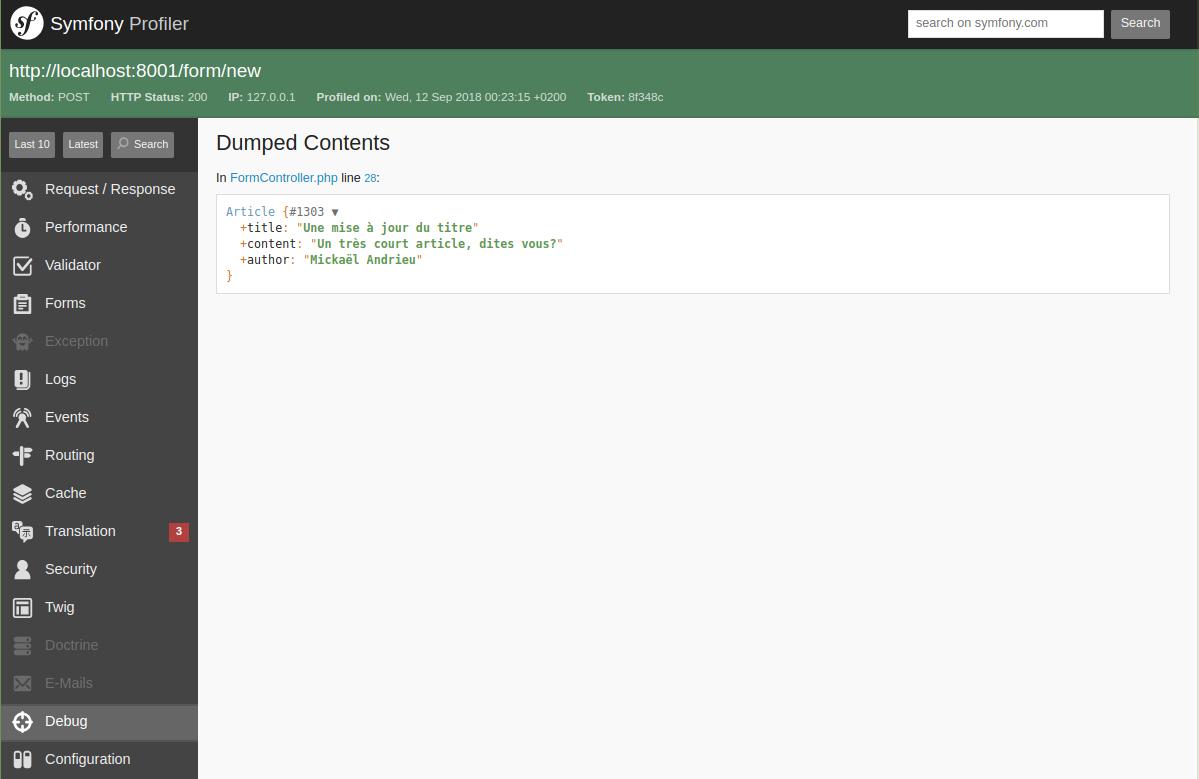 Capture d'écran montrant un dump() de l'article qui a été modifié à l'aide d'un formulaire.