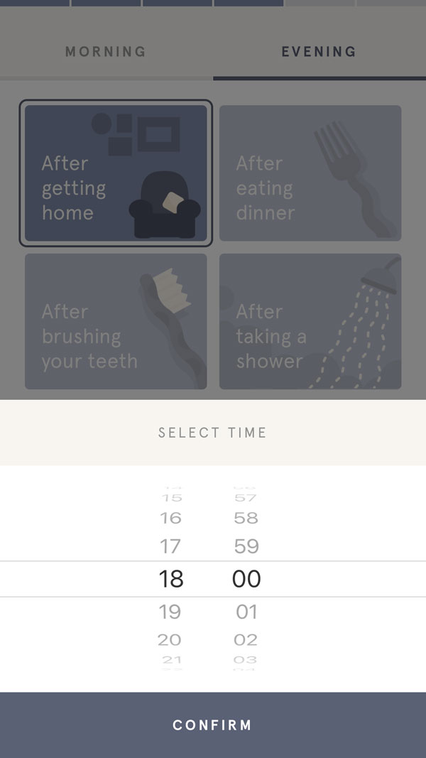 When deciding when you'd like to meditate there is a menu that allows you to update the time.