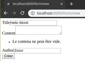 Capture d'écran d'un exemple de soumission d'un formulaire invalide et affichage des erreurs configurées.