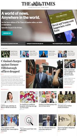 Page d'accueil du Times