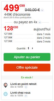 Fiche prix et envoi au panier du produit sur le site Cdiscount