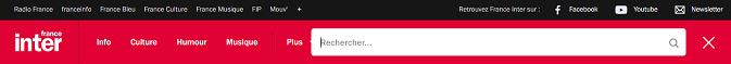Bandeau du site de France Inter