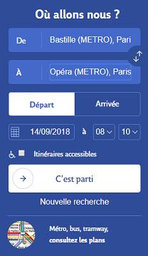 Formulaire de recherche du site RATP.fr