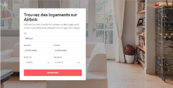 Page d'accueil du site Airbnb