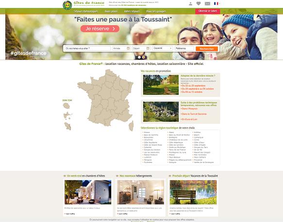 Page d'accueil du site Gites de France